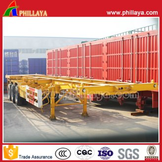 3axles skeleton stye container semi trailer