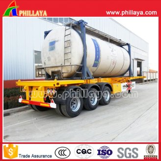 3axles skeleton stye container semi trailer